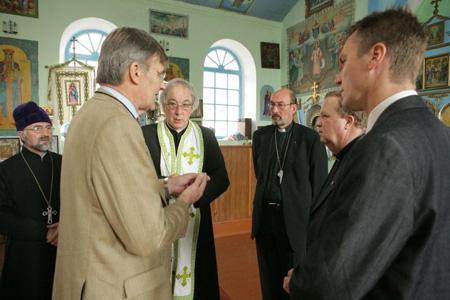 Genomgång i kyrkan, Alexander Kvitka, Lolo Sturen, Karl-Erik Tysk, Staffan Beijer, Kjell Knutas och Lars Thomsson