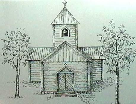 Gamla kyrkan tecknad av Maths Andreasson Utas