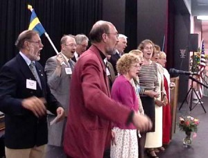 The Swedes singing at the dinner