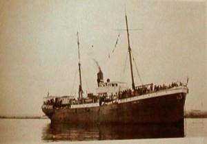 Lastbåten Furizan som transporterarde byborna från Kherson till Constanza i Rumänien